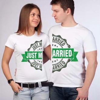 "ФП006760 Парні футболки з принтом ""Just married"" Push IT"