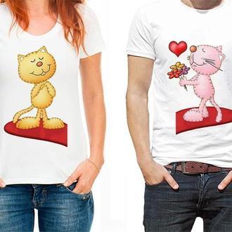 """ФП006772 Парні футболки з принтом """"Коти на серце"""" Push IT"""