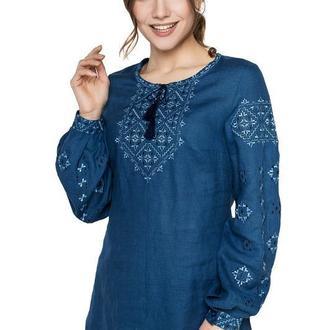 Блуза женская Ясмина (синий лен)