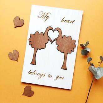 Оригинальная открытка  из дерева