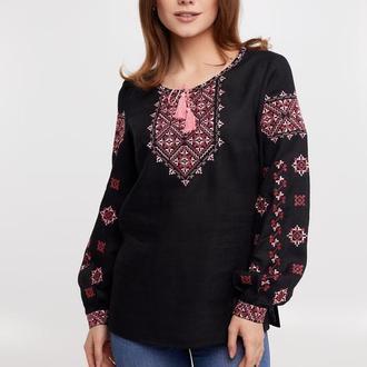 Блуза женская Ясмина (лен черный)