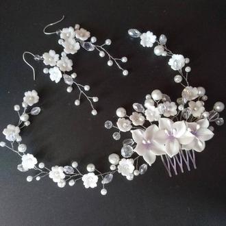 Свадебный гребень и серьги с цветами
