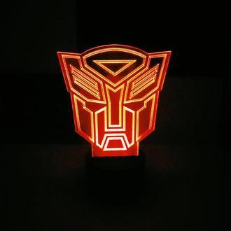 """3d акриловый светильник-ночник """"Трансформер ЛОГО"""" подарок для ребенка сувенир игрушка декор"""