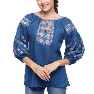 Блуза женская Милослава (синий лен)