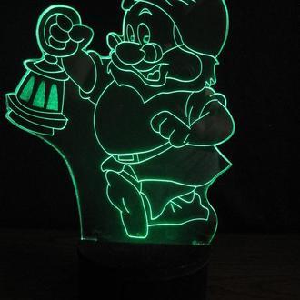 """3d акриловый светильник-ночник """"Гномик с фонарем"""" детский подарок сувенир декор"""