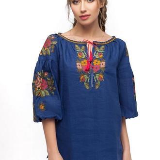 Блуза женская Волшебница (синий лен)