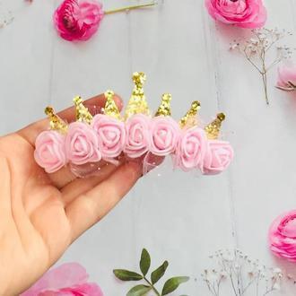 Корона для принцессы/золотая корона с цветами/ корона на годик