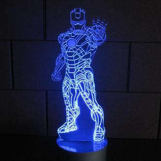 Железный человек, 3d акриловый светильник-ночник мужской подарок для мальчика декор оригинальный