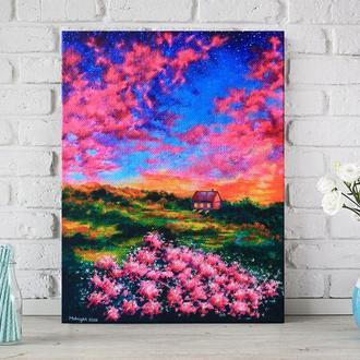 Картина акрилом «Квіти», 30х40 см