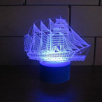 """3d акриловый светильник-ночник """"Пиратский корабль"""" эксклюзивный подарок сувенир детский мужской"""