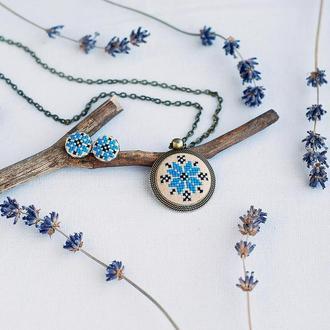 Кулон с вышивкой Алатырь, голубая этно подвеска, бохо украшение, подарок для девушки, оберег