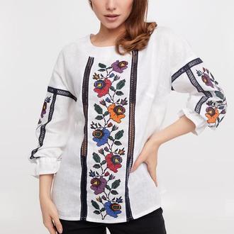 Блуза женская Борщевские цветы (лен белый)