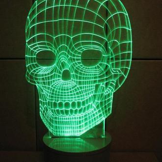 """3d акриловый светильник-ночник """"Череп"""" необычный подарок сувенир декор для дома"""