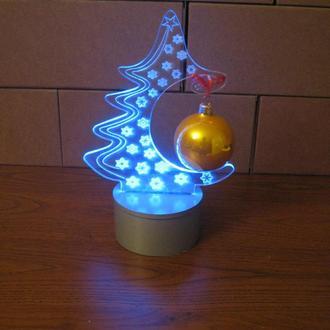 """3d акриловый светильник-ночник """"Елка с шаром"""" оригинальный подарок"""