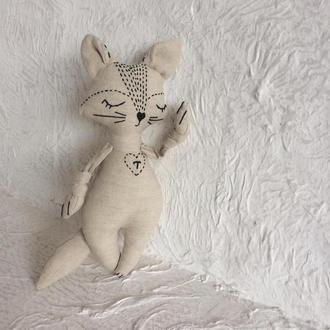 Еко іграшка з льону для самих маленьких. Авторська. Кіт з ініціалами. Буква Т.