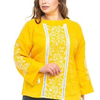 Блуза женская Элен (лен желтый)