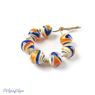 Бусины «Гравитация сине-оранжевые» стекло