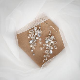 Серьги, свадебные серьги, серьги для невесты, длинные серьги, серьги из бусин