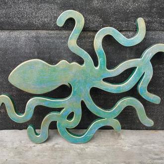 """Настенный деревянный декор """"Изумрудный осьминог"""""""