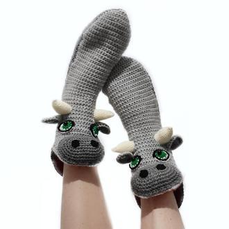Вязаные носки-быки размеры от  40 до 44