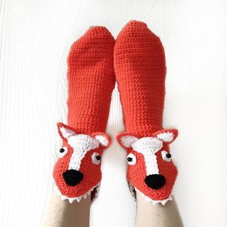 Вязаные носки-лисы размеры от 30 до 39