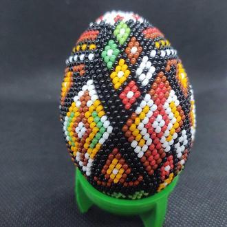 Яйцо из бисера Орнамент, подставка в подарок