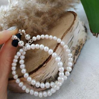 Срібні сережки-кільця з річкових перлів 'Фортуна'