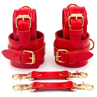 Красный кожаный набор (руки - ноги), Люксовая Кожа и Фурнитура с Италии