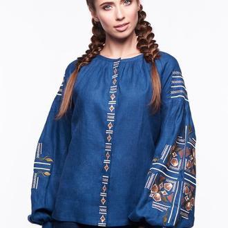 Блуза женская Яра (синий лен)