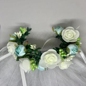 Венок в свадебную прическу, украшение под фату