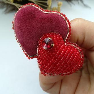 "Брошь ""Два сердца"""