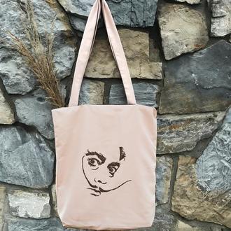 Вышитый шопер с двух сторон Сальвадор дали, сумка-шопер, сумка из натуральных материалов, эко-сумка.