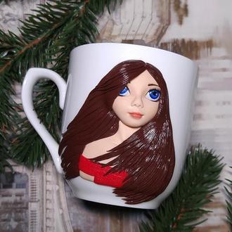 Чашка с декором Девушка