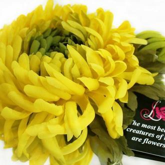 Цветы из ткани. Брошь «Лимонная хризантема»