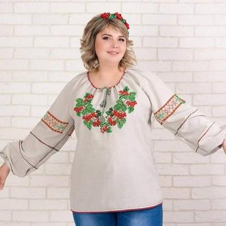 Рубашка с ручной вышивкой бисером, вышиванка бисером