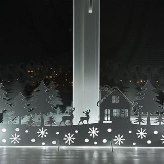 """Новорічна панель, композиція з пластика """"Будиночок у лісі"""", новорічний декор для вікна"""