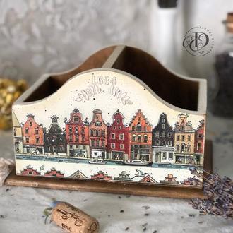 Подставка органайзер карандашница из дерева «Амстердам». В наличии.