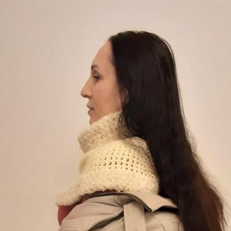 Манишка снуд, обьемный воротник  шарф пончо