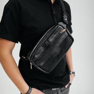 Мужская сумка (Бананка) из кожи, стильная кожаная черная сумка