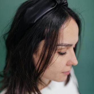 Черный кожаный обруч, стильный женский (обруч повязка)