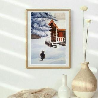"""картина акварель """"снежный гость"""""""
