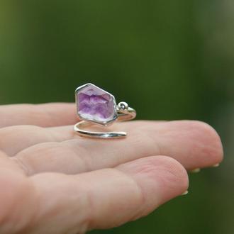 Серебряное кольцо с аметистом, кольцо с камнями, подарок