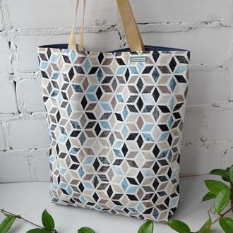 """Эко сумка для покупок, тканевая сумка пакет, эко торба, шоппер """"Ромбы"""""""