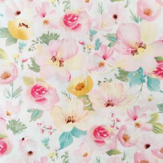 """Ткань хлопок """"Акварельные цветы розовые"""". Отрез 40*50 см."""