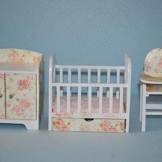 Мебель для кукол Гарнитур для детской Белый с розами