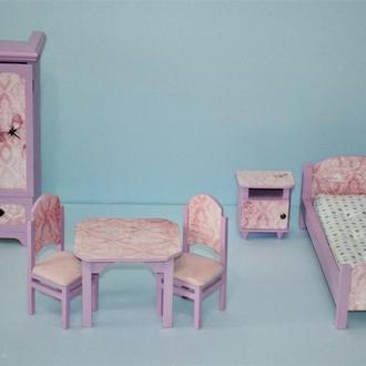 Мебель для кукол Гарнитур для спальни Нежный сиреневый