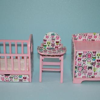 Мебель для кукол Гарнитур для детской С совами