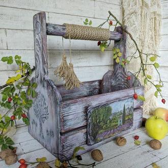 Великий дерев'яний ящик в стилі Кантрі-Прованс