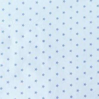"""Ткань хлопок """"Мелкие серые звезды на голубом"""". Отрез 40*50 см."""