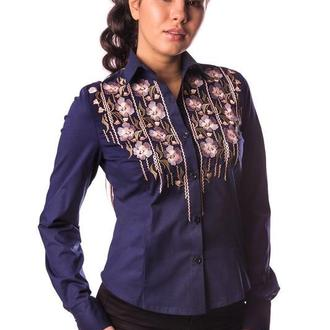 Блуза женская Zara (поплин темно-синий)